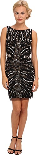 Adrianna Papell Womens Short Beaded Cocktail Dress