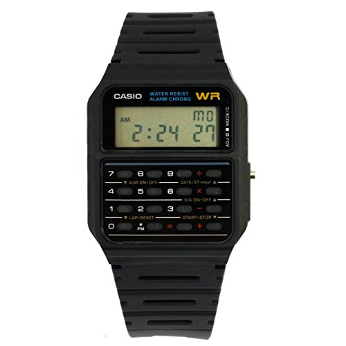 Classic 80s Casio CA53W-1 Black Dial Calculator Retro Watch. Just like the watch worn by Michael J. Fox in Back to the Future. Relive 1985 again!