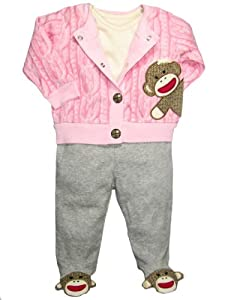 Baby Starters Baby-girls Sock Monkey Footed Pants & Cardigan Outfit (3 Piece)