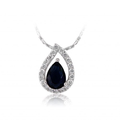 Lifestyle Infinity Lifestyle Dark Blue Cuibc Zirconia Droplet Necklace For Women (P204027RBLU) (Multicolor)