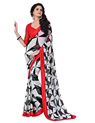 Black With White & Pink Boeder Printed Semi Bemberg Georgette Saree With Blouse SASPR216