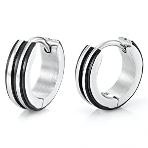 Unique Stainless Steel Hoop Earrings for Men (Silver Black)