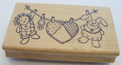 """Azadi Earles Country Clothes Line Rubber Wooden Stamp 2.25"""" X 4"""" - 1"""