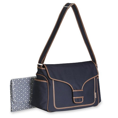 ... About Diaper BAG – Blue Snap with Leather Trim (Designer Nappy Bags