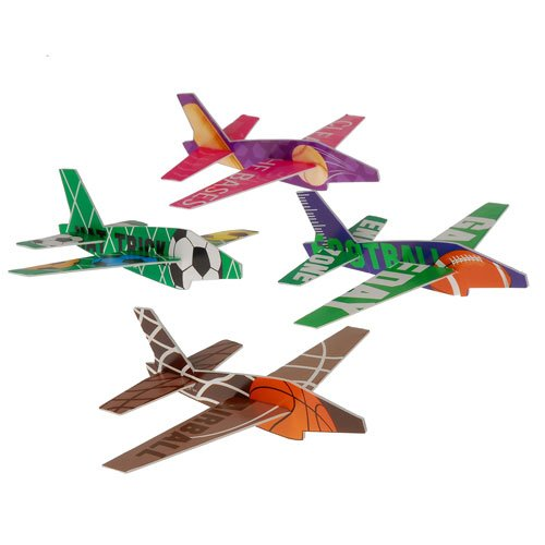 Lot Of 12 Assorted Sports Theme Styrofoam Jet Plane Gliders