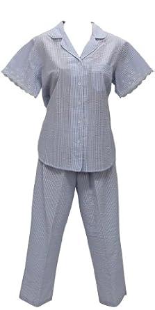 New Miss Elaine Blue/Pink with White Stripe Seersucker Two Piece Pajama - XL