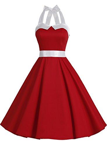 Dressystar Vintage Polka Dot Retro Cocktail Prom Dresses 50's 60's Rockabilly Bandage Solid Red M