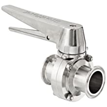 "Dixon B5101S150CC-C Stainless Steel 316L Butterfly Valve with Trigger Handle and Silicone Seal, 1-1/2"" Tube OD"