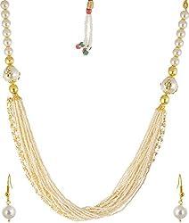 Jheeel International Festive White Pearl Chain Bead Carriers for Women (JIFJ0015)