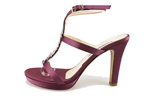 ALBANO sandali donna viola nero seta swarovski (41 EU, Viola)
