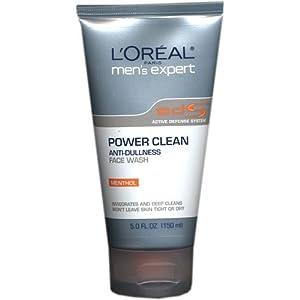L'Oreal Men's Expert Power Clean Anti-Dullness Face Wash, Menthol, 5 oz