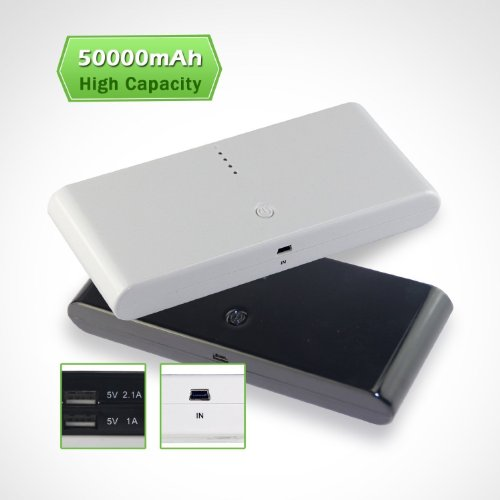 EPCTEK®50000mAh Externer Akku Pack-Bank-tragbare Ladegerät für Smartphone, adroid Telefon, Handy, HTC Sensation 4G XE XL, One X, Desire S HD Z, Google Nexus One, Nexus S, Nokia Lumia 800 900 700 N8 N900 C3 C7 Xpressmusic N97 E72 X6 / Samsung Galaxy S, S2, S II, S III, Ace, Galaxy Nexus / Blackberry 9900 9780 9800 9700 8520 9780 9300 Curve Bold Torch / Sony Ericsson Xperia Arc Play-Ray / LG Optimus 3D x2 vt / iPhone 5 4s 4 3G 3Gs, iPad, Tablet-PC-USB-etc ( weiß)
