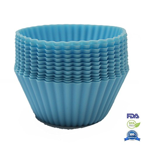 Fontaine Set of 12 Reusable Silicone Baking Cup Mold Non-stick Cupcake Liner Round Blue 2.56 by 2.56 inch