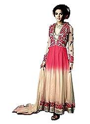 Mahaveer Fashion Women's Net Semi-Stitched Anarkali (herrite_Pink_Free Size)