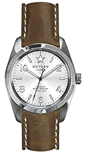 OXYGEN Paris 38 unisex quartz Watch with white Dial analogue Display and brown leather Strap EX-S-PAR-38-CL-DB