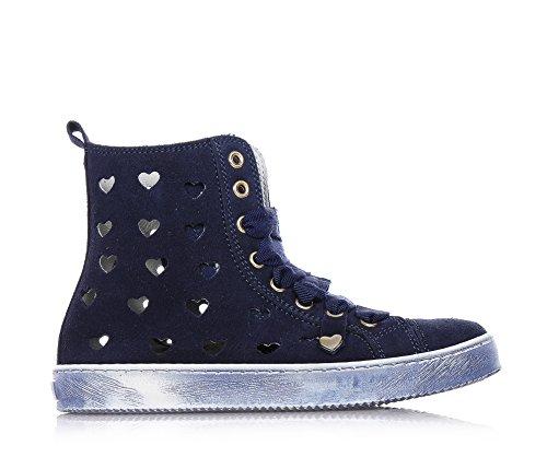 TWIN-SET - Sneaker stringata blu, in camoscio, traforata a cuori, donna, ragazza, ragazze, Bambina-31