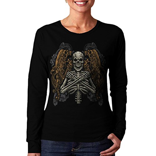 Wellcoda | Monster Skeleton Womens NEW Long Sleeve T-Shirt Black S-2XL