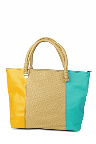 Just Women Just Women Color Blocked Biege And Indigo PU Leather Tote