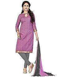 Swapnrang Light Pink Violet Chanderi Dress Material