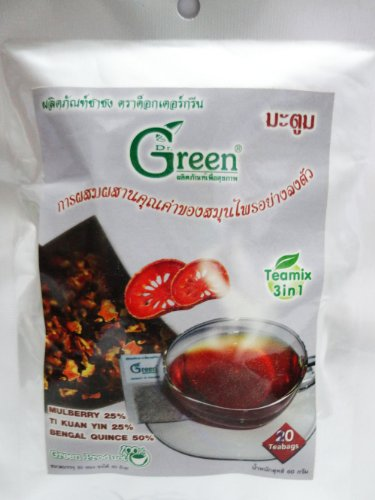 3 X Dr.Green : 3In1 Mulberry Tea With Bael Herbal Teamix 60G (3G X 20 Sachets) Product Of Thailand