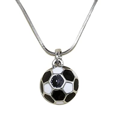 Silvertone Soccer Ball Pendant Necklace Fashion Jewelry