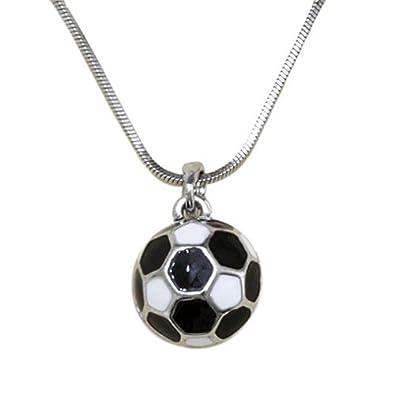 Silvertone Soccer Ball Pendant Necklace Fashion Jewelry