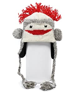 'Hat-imals' Hand-Knit 100% Wool Sock Monkey Animal Winter Hat