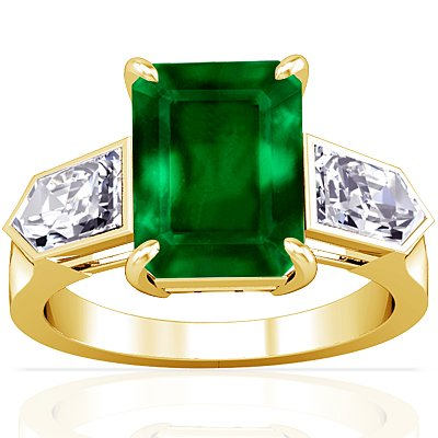 14K Yellow Gold Emerald Cut Emerald Fana Designer Ring