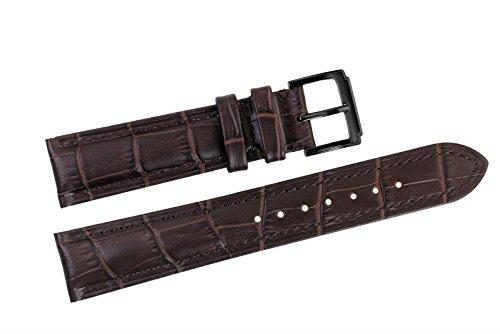 19mm cinturini sostituzione pelle italiana marrone scuro / band grosgrain imbottito con fibbia ad ardiglione nero per orologi di lusso