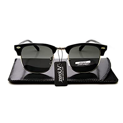 zeroUV - Premium Half Frame Horn Rimmed Sunglasses with Metal Rivets (Classic Series | Black-Gold / Smoke + Slip Case)