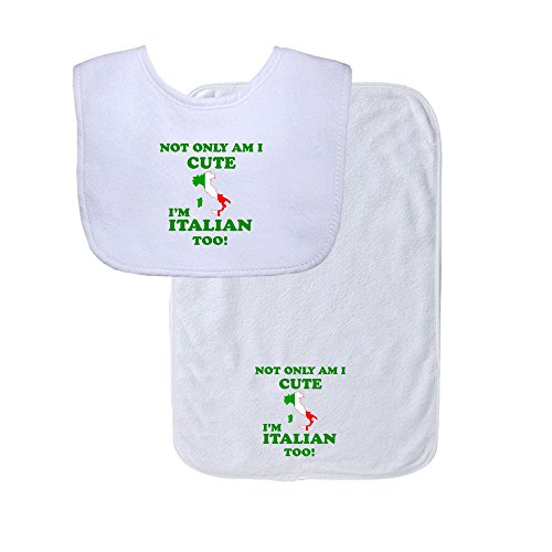 Not Only I'm Cute, I'm Italian Too Soft Terry Cotton Baby Bib & Burp Cloth Set