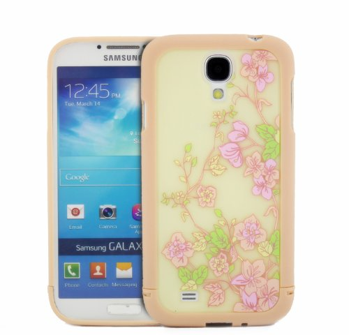 Big Dragonfly High Quality (2 In 1) Pretty Floral Patterns Hybrid Hard Back Case Cover / Baby Pink Frame Bumper Case For Samsung Galaxy S4 Siv I9500 Exquisite Retail Packing front-656886