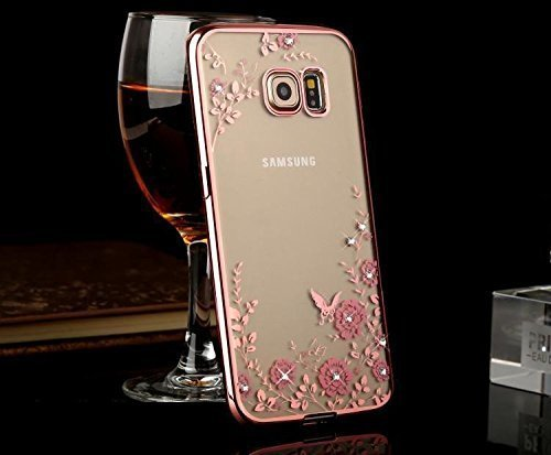 FONOVO Samsung J7 - Shockproof Silicone Soft TPU Transparent Auora Flower Case with Sparkle Swarovski Crystals for Samsung J7 Back Cover (Rose Gold)