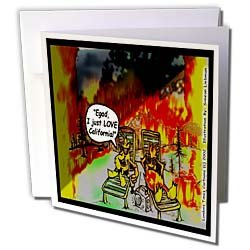 Londons Times Funny Music Cartoons - HOT Vacations In California - Greeting Cards-12 Greeting Cards with envelopes