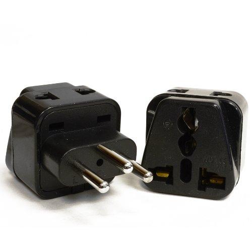 Orei 2 In 1 Usa To Switzerland Travel Adapter Plug (Type J) - 2 Pack, Black