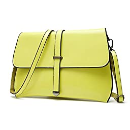 MOLLYGAN Womens Leather Clutchs,Cross-body Shoulder Bag, Simple Style, Dual-Use,Yellow