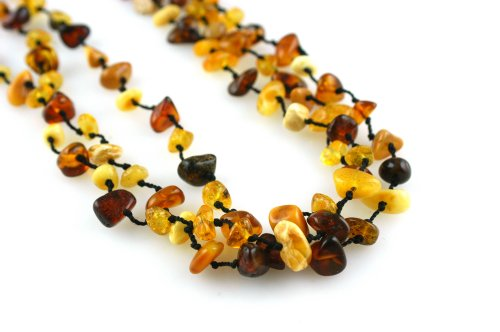 Knotted Three Strand Multi Amber Chip Necklace