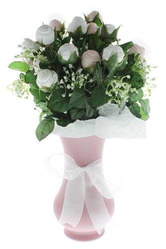 Girl'S Large Bootie Bloom - Pink & White Socks - Pink Vase
