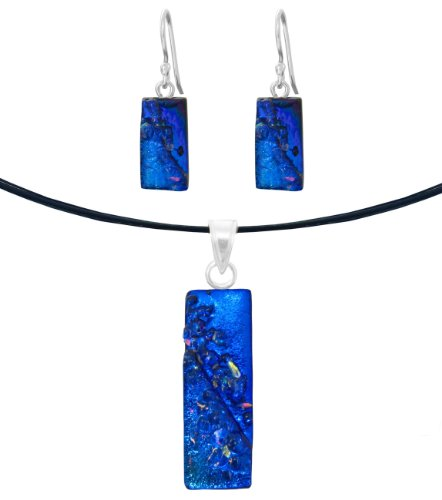 Sterling Silver Dichroic Glass Blue with Clear Glass Sprinkles Rectangular Pendant Necklace and Earrings Set, 18