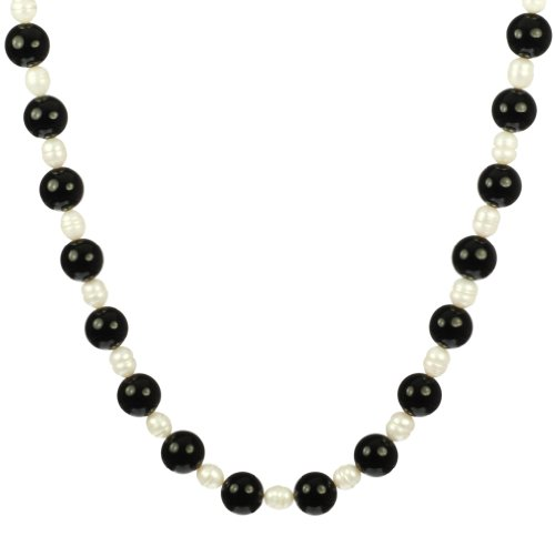 Round Black Onyx and White Freshwater Pearl Bead Necklace, 18