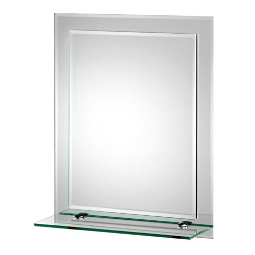 Croydex Rydal Double Layer Wall Mirror 20-Inch x 16-Inch with Shelf and Hang N Lock Fitting System