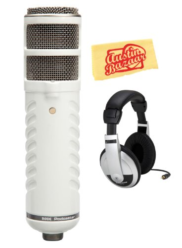 Rode Podcaster Usb Dynamic End-Address Broadcast Microphone Bundle With Headphones, And Polishing Cloth
