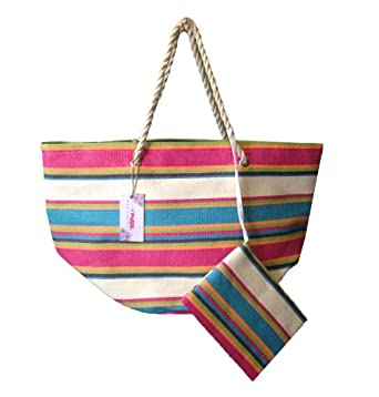 """Oversized Summer Striped Canvas Beach Tote Bag - W5"""" D19"""" H16"""" (Summer Stripes 3)"""