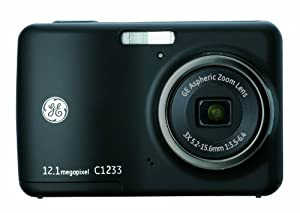 GE C1233 12MP Digital Camera with 3X Optical Zoom and 2.4 Inch LCD with Auto Brightness (Black)