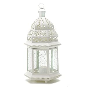 Gifts Decor Large White Moroccan Lantern Ornate Metal Glass