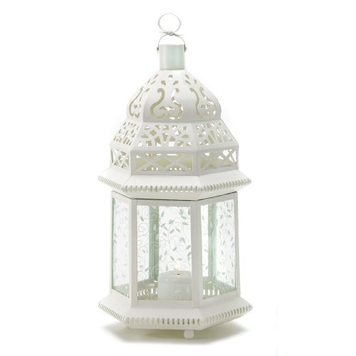 Gifts & Decor Large White Moroccan Lantern Ornate Metal Glass Light