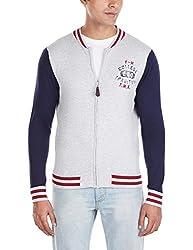 Flying Machine Men's Half-Zip Acrylic Sweater (FMSW0204_Grey Melange_XL)