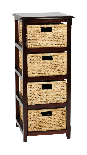 OSP Designs Seabrook Four-Tier Storage Unit With Four  Natural Baskets, Espresso Finish (Storage Tower Baskets compare prices)