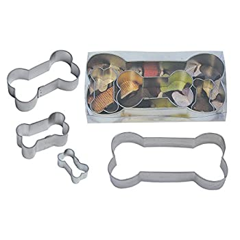 "R & M International Best Selling Set of 4 Classic Dog Bone Cookie Cutters Great For Homemade Treats and Crafts 6.5"", 3.5"", 2"", Mini"