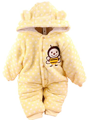 Baby Toddler Cotton Long Sleeve Jumpsuit Front Button (Yellow,3-6 Months)